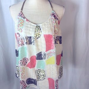 Floreat Loved by Anthropology Tank Top Size Med